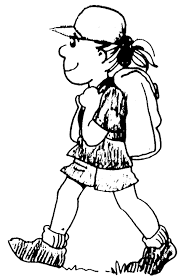 Image result for GIRL HIKE cartoon black and white