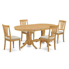 Oak Rubberwood Dining Oval Table With Leaf And 4 Chairs 5 Piece Set