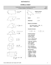 8 Grade Math Formula Chart 6th Grade Math Formulas Chart Exit Level Mathematics Chart