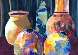 Jugs And Pots Painting by Polly Barrett