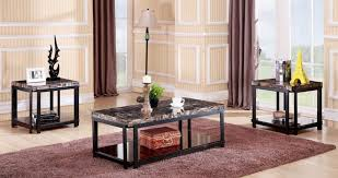 bring elegant contemporary style to your living room with a coffee table and matching end tables each featuring a thick light brown faux marble tabletop