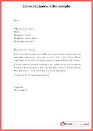 Employment Acceptance Letter Job Acceptance Letter Sample And Some Basic Tips For How To