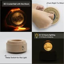 <b>Moon Crystal Ball Wooden</b> Luminous Music Box Music Box Rotary ...