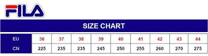 Fila Shoe Size Chart Fila Scarpe Size Chart