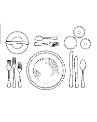 formal setting of a table. setting the table for soup formal of a e