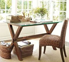 glass desk table tops. A Rustic Desk With Dark Stained Wood Trestle Legs And Glass Tabletop Table Tops
