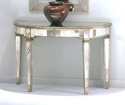 round entry hall table half circle console w mirrored accents tapered foyer