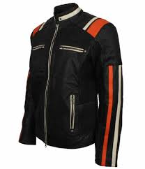 Designer Black Leather Jacket Men Retro Designer Cafe Racer Striped Black Leather Motorcycle Jacket
