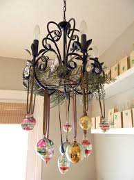 ornaments hanging from the chandelier i