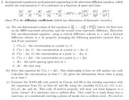 an important equation i environmental engineering is the advection diffusion equation which