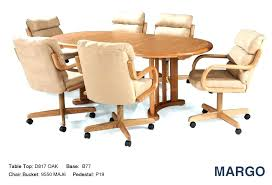rolling dining chairs. Rolling Dining Chair Oak Chairs With Casters Swivel Casual Living 7 Tilt Brown Upholstered T