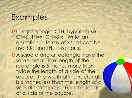 examples in right triangle cth hypotenuse ct 6 th x ch