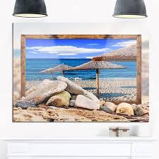 framed beach umbrellas seashore art glossy metal wall art on beach umbrella metal wall art with shop framed beach umbrellas seashore art glossy metal wall art