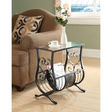 monarch specialties satin black glass top end table