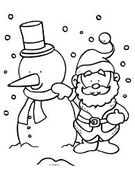 Kleurplaat Kerstman Met Sneeuwpop Kleurplatennl