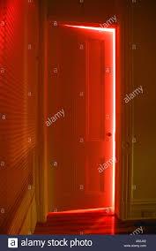Half open door drawing Classroom Door Red Light Shining Through Half Open Door Stock Photo Umeda Con Drawing Of Light Shining Through Door
