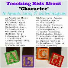 character series one time through list of alphabetic journey topics regarding teaching children character