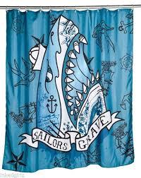 new too fast sailors grave shower curtain blue tattoo shark punk goth