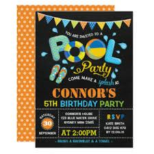 Photo Party Invitations Boys Pool Party Birthday Chalkboard Invitation