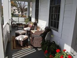 Outdoor. Country Home Facade With Traditional Wicker Furniture Set  Combination Porch Decoration. Attractive Home
