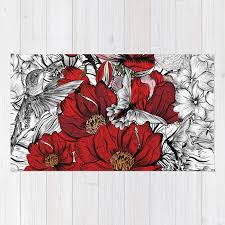 boho chic red poppy flowers with black and white background rug by