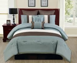 blue and brown comforter sets king bedroom on wooden queen size bed 2