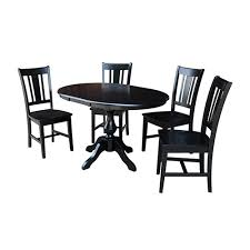 international concepts black 36 inch round dining table with 12 inch leaf and four san remo chairs k46 36rxt 11b c10 4 bellacor