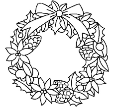 Christmas Wreath Flowers Colouring Page Fun Colouring