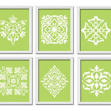 lime green wall art bedroom bathroom artwork damask kitchen set of 6 prints white ornament design on lime green wall art prints with best art for french country kitchen products on wanelo