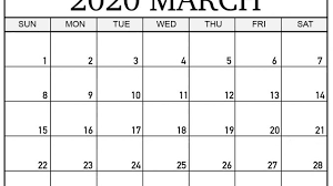 2020 Calendar Printable With Us Holidays March 2020 Calendar With Holidays Us Uk Canada Australia
