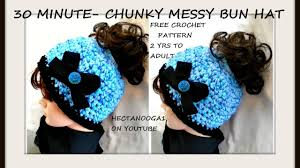 Youtube Free Crochet Patterns Enchanting FREE Crochet Pattern 48 MINUTE CROCHET CHUNKY STYLE MESSY BUN HAT