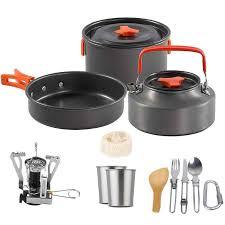 1 7pcs 1 2 <b>Person Camping Cookware</b> Pot Pan Fork Spoon ...