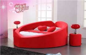 Pink modern round leather bed for girl2014