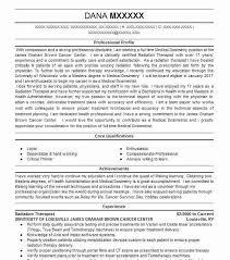 Radiation Therapist Resume Radiation Therapist Resume Sample Resumes Misc Livecareer