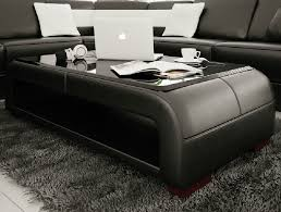 White leather coffee tables Ottoman La Furniture Store Divani Casa Ev30 Modern Black Bonded Leather Coffee Table W Glass Top