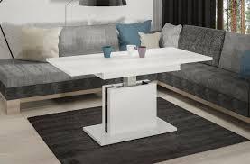 Couchtisch Ausziehbar Höhenverstellbar Weiss Hochglanz Tisch Funktion Wohnzimmer