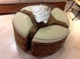 cool wicker ottoman and glass top for coffee table ideas with tile flooring and wicker sofa for living room