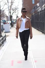 leather jacket white tee black ripped jeans black ankle booties spring 2016 nyc style blogger