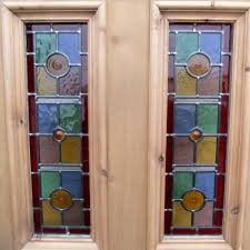 5 panel exterior stained glass door