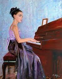 portrait painting beautiful girl playing piano by sefedin stafa