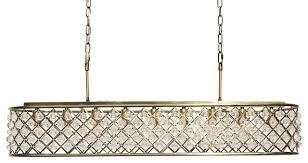 cassiel 40 rectangular crystal drop chandelier antique brass
