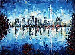 city painting across the bay palette knife oil painting no brush by lisa