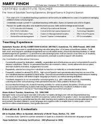 SUBSTITUTE TEACHER RESUME template