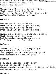 Let The Light In Lyrics Let Us Walk In The Light Ira Sankey Txt By Ira Sankey