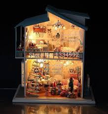 big diy wood frame kits miniature dollhouse w light furniture model sweet gift large dream villa