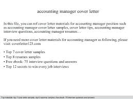 Good Accounting Cover Letter Accounting Manager Cover Letter In This