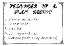 Features Of A Play Script Anchor Chart