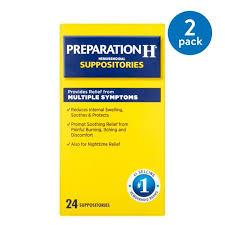 2 Pack) Preparation H Hemorrhoid Symptom Treatment Suppositories (24 ...