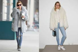 wear a faux fur coat over your casual basics
