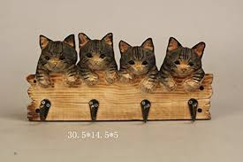 Cat Coat Rack Comfy Hour Farm Animals Hand Carved Wooden Four Coat Hooks Clothes 17